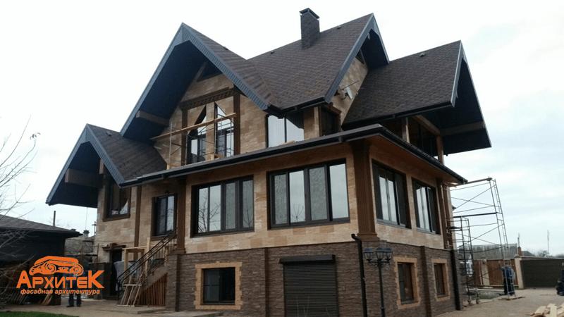оформление фасада дома пенопластом
