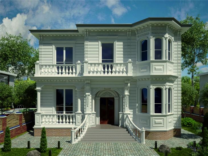 Отделка фасада дома современной лепниной: Эскизы фасада
