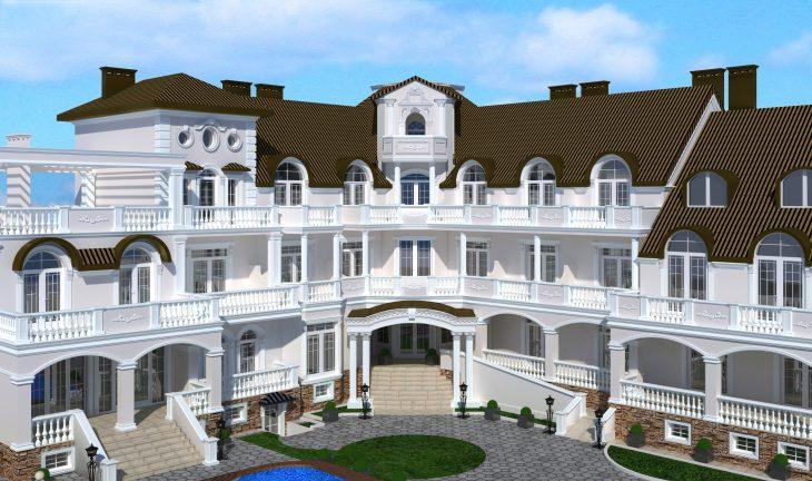 Современный дом — фасад отделка лепниной