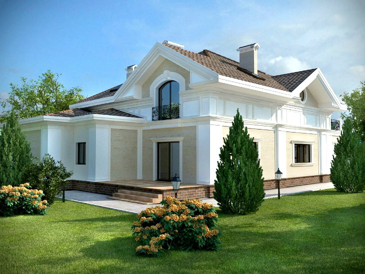 Современный дом — фасад с лепниной